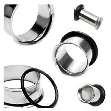 SS 1 Pair Single Flare stainless steel Ear Plugs Rings Tunnel Earlet Piercing Je