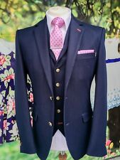MENS 3 PIECE NAVY FORMAL PARTY SUIT PERFECT FOR CHRISTMAS PARTIES AND WEDDINGS