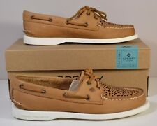 NIB SPERRY TOP SIDER A/O VILLA PERFORATED LEATHER TAN BOAT SHOES FLATS SZ 5.5