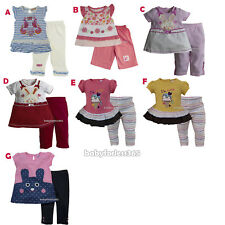 New Baby Girl 2 pc set outfit Shirt Legging Size 3 6 9 12 18 24 months 2T 3T 4T