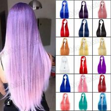 """19-40"""" Long Cosplay Wig With Bangs Women Curly Straight Hair Wig Party Dress 6ff"""