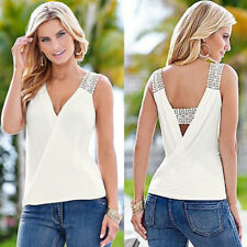 Women Summer Fashion Vest Sleeveless Blouse Casual Tank Tops T Shirt Blouse ww
