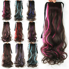 """Hair Extensions 21"""" Women Girls Long Wavy Hair Curly Ponytail Colorful 53a"""