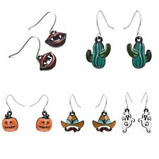 Halloween Lipstick Cactus Ghost Pumpkin Hook Dangle Earrings Women Lady Jewelry