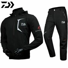 DAIWA Fishing Windbreaker Thermal Jacket Coat Pants Black Camping Hiking FLEECE