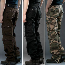 Mens Casual Military Army Cargo Camo Combat Work Pants Trousers Multipocket Pant