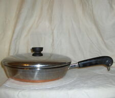 "1801 Revere Ware Stainless Steel Copper Bottom 10"" Skillet Frying Pan and Lid"