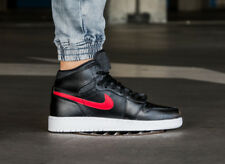 """NIKE AIR JORDAN 1 HIGH GS BLACK/RED """"BRED"""" 705300-012 YOUTH LEATHER SNEAKERS"""