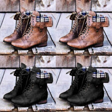 Women Flat PU Leather Martin Shoes Mid Calf Boots Lace Up Zip Military Shoes