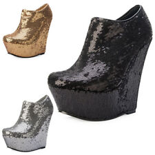 NEW WOMENS SHIMMER SEQUINED WEDGE HEEL LADIES ANKLE BOOT PARTY SHOES SIZE 3-8 UK