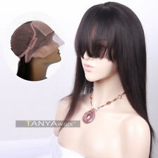 Human Hair Silk Base Lace Front Wigs With Bangs Light Yaki Natural Color Wig