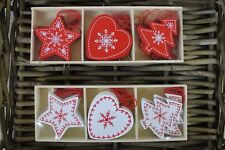 SET OF 12 WOODEN HANGING CHRISTMAS DECORATIONS STAR TREE HEART RED AND WHITE