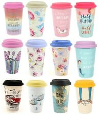 Ceramic Travel Mug Double Walled Coffee Tea with Silicone Lid Insulated ty