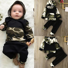 2PC Newborn Baby Boys Camouflage Hooded Shirt Tops+Pants Outfits Clothes Warmer