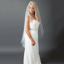 1T White Ivory Cathedral Wedding Bridal Cut/Raw Veil