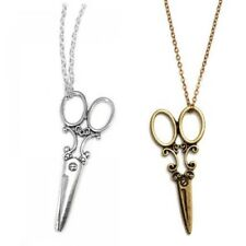 Vintage Antique Style Long Sweater Chain Scissors Necklace Silver or Bronze