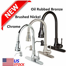 "18""/16"" Kitchen Sink Faucet chrome Pull-Out Spray Swivel Spout Dispenser E7"