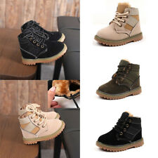 Winter Kids Boys Girls Ankle Boots Lace-up Suede Sneakers Mid-Calf Martin Shoes