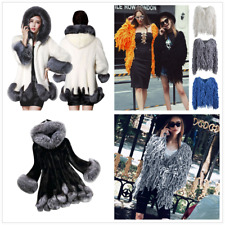 Women Shaggy Winter Faux Fur Jacket Overcoat Long Warm Hairy Parka Hooded Coat
