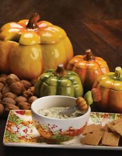 Fall Harvest Thanksgiving Table - Pumpkin Tureen or 4 Soup Bowls Orange Green
