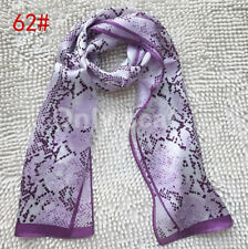 New100%Silk Animal snakeskin Print Stole Neck Long Scarf Shawl Wrap