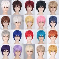 Hot Sale Short Straight Wig Women Men Party Hair Cosplay Costume Full Wig Blue F