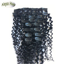 Brazilian Virgin Deep Wave Curly Clip in Human Hair Weft Extensions 7pcs 70g