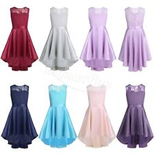 Lace High Low Flower Girl Dress Pageant Birthday Wedding Bridesmaid Formal 4-14