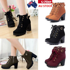 AU Winter Women Block High Top Heel Ankle Boots Lace Up PU Leather Pumps Shoes