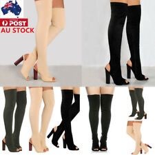 AU LADIES WOMENS OVER THE KNEE THIGH BOOTS HIGH HEEL PEEP TOE STRETCH BOOTS SIZE