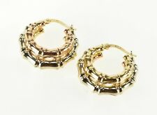 14K Two Tone Layered Bamboo Patterned Hoop Earrings White Gold  *81