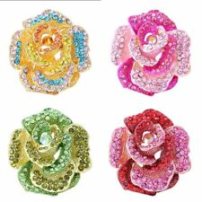 Exquisite Rose Flower Crystal Brooch Pin Wedding Bouquet bride Woman Jewelry New