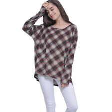 Fall Winter Women Long Sleeve Loose Stripe Plaid Flower Print Casual Blouse Tops