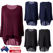 AU Women Ladies Long Sleeve Casual Long Tops Blouse Back Button Loose T-Shirt