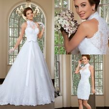 A Line High Neck Lace Bridal Wedding Dresses Detachable Skirt Sweep Train Gowns