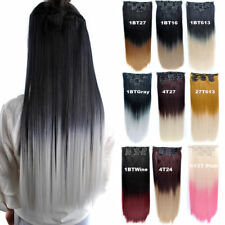 24inch 140g Two Tone Synthetic Ombre Hair Dyed Clip In Hair Extensions 7pcs/set