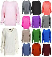 Womens Ladies Knitted Round Neck Oversized Baggy Stretchy Warm Jumper Top