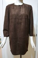 NWT $179 Chico's Zip Detail Faux Suede Jacket, Cocoa Bean, Size 1 (M - 8/10)