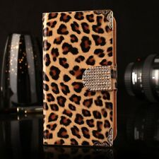 For Samsung iPhone Nature Leopard Bling Leather Wallet Magnetic Flip Case Cover