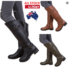 AU Women Ladies Mid-Calf Boots Casual Low Heel Zip up Biker Military Boots Shoes