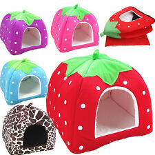Soft Pet Puppy Strawberry Kennel Doggy Cushion Basket Dog Cat Warm Bed House Pad