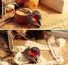 M958 1pcs Vintage Red Rhinestone Wing Heart Necklace Coat Chain Free Shipping