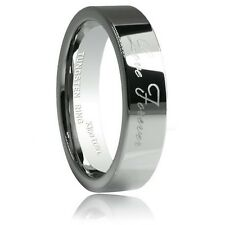 6mm Tungsten Ring Silver Love Forever Laser Engraved Flat Top Polished Annivers