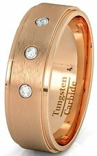 Mens Wedding Band 8mm Rose Gold Tungsten Ring Brushed 3 CZ Step Edge Com