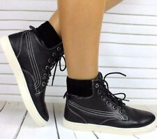 WOMENS LADIES FLAT LACE UP HI HIGH TOP ANKLE TRAINERS BOOTS SHOES SNEAKERS UK 5