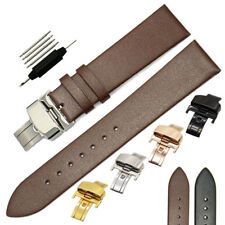 Thin Genuine Leather Watch Band Strap Butterfly Clasp Black Brown 18mm 20mm 22mm