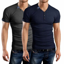 Fashion Men's Button Front Short Sleeve V-Neck Solid Casual Slim Fit T-Shirts w5