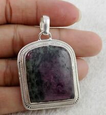 Natural Ruby Zoisite Cabochon 25x30mm Gemstone 925 Sterling Silver Pendant