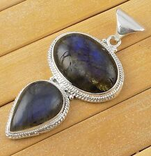 Natural Blue Fire Labradorite Cabochon Gemstone 925 Sterling Silver Pendant