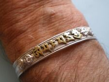 BUDDHIST SILVER BRACELET w GOLD PROTECTION MANTRA 'Om Mani Padme Hum'-weight 17g
